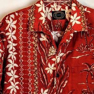 Hawaiian Reserve Collection Shirts - Hawaiian Men's Tiki Shirt Cotton w/Coconut buttons